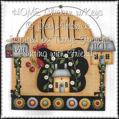 HOME chicken with keys email pattern packet by PaintingWithFriends, $5.00