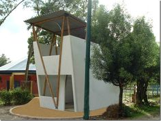bamboo frame, metal roof, low cost