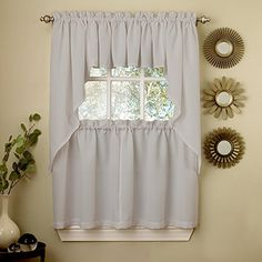 Sweet Home Collection 5 Pc Kitchen Curtain Set-Valance Swag Choice of 24″ or 36″ Tier Pair, Ribcord Gray Tier Curtains, Cafe Curtains, Valance Curtains, Country Curtains, White Kitchen Curtains, Kitchen Curtain Sets, Kitchen Valances, White Curtains, Scarf Valance