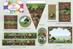 Kit imprimible gratuito Minecraft - Minecraft, Pubg, Lol and Mine Minecraft, Lol, Frame, Crafts, Zombies, Ideas, Party, Minecraft Printable, Minecraft Birthday Card
