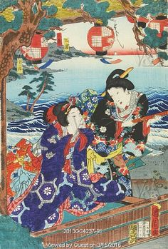 Pictures of Amusements, detail of triptych, by Ichiosai Kunichika. Japan, late 19th century