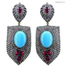Ruby Turquoise Diamond 14K Gold Sterling Silver Dangle Earrings Women's Jewelry #raj_jewels