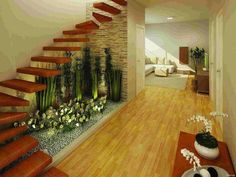 Jardines interiores bajo escaleras - indoor gardens under stairs Interior Garden, Home Interior Design, Exterior Design, Interior And Exterior, Staircase Lighting Ideas, Staircase Design, Open Staircase, Wall Lighting, Lighting Design