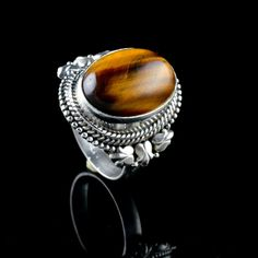 925 Sterling Silver Natural Tigers Eye Gemstone Handmade Mens Ring Size 7.25 #Handmade #Cluster #Party
