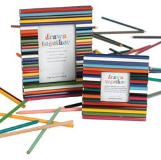 Photo frames with pencils colours