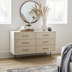 6 Drawer Dresser, Dresser As Nightstand, Bedroom Dresser Styling, Dresser Top Decor, Dresser Ideas, West Elm Dresser, Drawer Knobs, Ikea Dresser Hack, White Bedroom Dresser