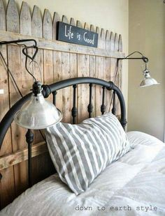 Love this picket fence headboard!