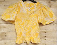 Gymboree Girls Top Size 10 Yellow Floral Gathered Waist 100% Cotton Bead Accents #Gymboree