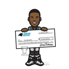 """Cam Newton """"Mega Bucks"""" Tyke. QB Cam Newton and the Carolina Panthers agreed to a five-year extension worth a reported $103.8 million.He is expected to earn $67.6 million over the first three years, the most money ever paid to an NFL player during the first three years of a contract.The deal will presumably keep Ace Boogie in the Queen City through the 2020 season.#CamNewton #CarolinaPanthers #Panthers #NFL #football #tyke #tykes #MyTyke www.tykes.co"""