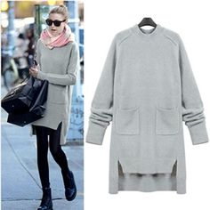 2017 Women's Knit Sweater Dress Pullover Long Sleeve O-neck Lady Solid Sweater Jacket Autumn Winter Tops Shirt Large Size Stylish Winter Outfits, Womens Fashion Casual Summer, Black Women Fashion, Pullover Outfit, Cute Skirts, Beautiful Outfits, Beautiful Clothes, Beautiful Women, Sweater Outfits