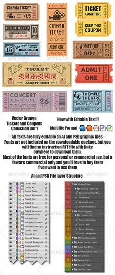 Vector Coupons and Tickets Collection 1  #blank #stained #PSD • Click here to download ! http://graphicriver.net/item/vector-coupons-and-tickets-collection-1/6979075?ref=pxcr