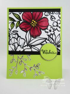 Here is a sneak peek at the Petal Passion Suite in the upcoming 2018 Occasions Catalog. To make this card, I used the Petal Palette stamp set and coordinating Petals & More Thinlits Dies along with the Petal Passion Designer paper that I colored with the new Cherry Cobbler and Old Olive alcohol-based Stampin' Blends Markers. Click here for directions!...#stampyourartout #stampinup - Stampin' Up!®️️ - Stamp Your Art Out! www.stampyourartout.com