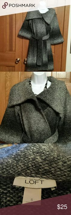 Loft Long Marbled Sweater sz Small Excellent condition, washable, warm sweater with belt. Wool, Acrylic  and Alpaca. Great addition to any wardrobe. LOFT Sweaters