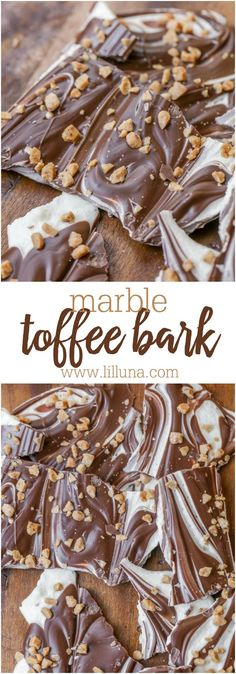 Easy Marble Bark - just a few ingredients to make this holiday classic that can be topped with crushed candy canes, toffee bits or nuts!