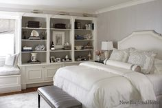 built-in bookshelves in bedroom