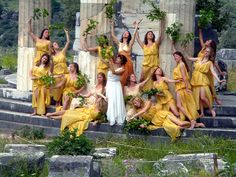 Greek dancers from the hellenic Isidora Duncan dance academy at the revival of the Pythian games at Delphi