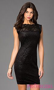 Buy Short Black Cap Sleeve Dress with Lace Detailing at PromGirl