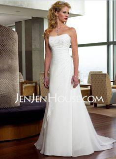 Wedding Dresses - $169.99 - A-Line/Princess Strapless Court Train Chiffon  Satin Wedding Dresses With Ruffle  Beadwork (002000502) http://jenjenhouse.com/A-line-Princess-Strapless-Court-Train-Chiffon--Satin-Wedding-Dresses-With-Ruffle--Beadwork-002000502-g502
