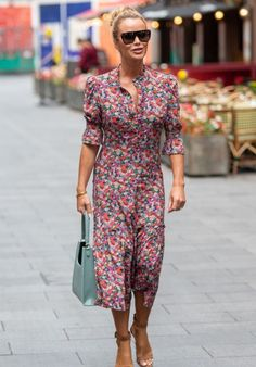 Amanda Holden in a printed midi dress and ankle strap sandals | For more style inspiration visit 40plusstyle.com