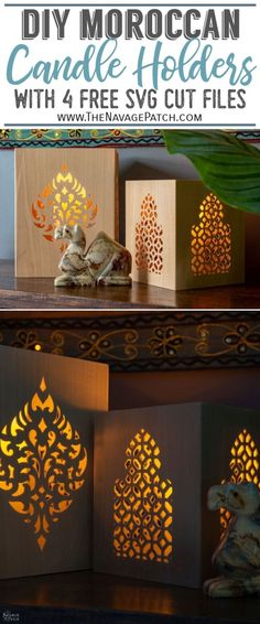DIY Moroccan Candle Holders | How to make a Moroccan candle holder with Cricut Maker | 4 free downloadable SVG cut files with Moroccan patterns | 4 free downloadable Moroccan pattern SVG cut files | DIY Bohemian wooden hurricanes | How to make DIY Moroccan lanterns | #TheNavagePatch #DIY #FreeSVG #Bohemian #DIYHomeDecor #Moroccan #CricutMaker #Cricut #BohoDecor #lanterns #FreePrintable #easydiy | TheNavagePatch.com