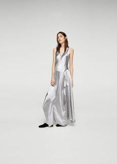 Металлизированное платье с воланом