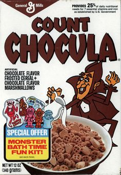 I had a glass container full of Count Chocula at the cereal bar at my '80s party. This picture of an '80s-era cereal box was on the container.