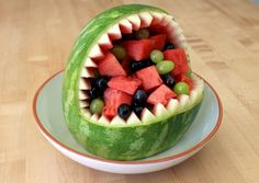 Watermelon Shark : 13 Steps (with Pictures) - Instructables Fruit Basket Watermelon, Watermelon Art, Watermelon Carving, Fruit Creations, Food Garnishes, Dessert Decoration, Decorations, Fun Cooking, Camping Cooking