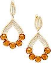 Citrine (10 ct. t.w.) and Diamond (3/8 ct. t.w.) Chandelier Earrings in 14k Gold