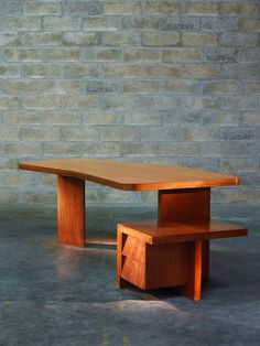 Pierre Jeanneret; Teak Desk for the Cultural Center and Museum of Ahmenabad, 1950s.
