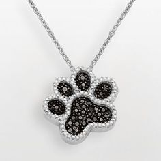 Sterling Silver 1/3-ct. T.W. Black and White Diamond Dog Paw Pendant