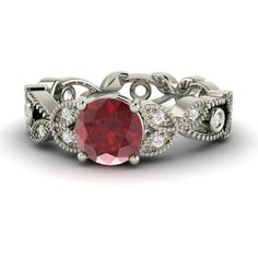 Natural Ruby and Diamond Vintage Engagement Ring in by Diamondere, $1169.00