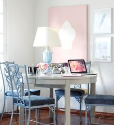 I love a beautiful home office, and the offices below are some of my favorites. Elle Decor S. Dining Room Table, A Table, Dining Chairs, Dining Rooms, Grey Table, Chippendale Chairs, Home Office Space, Office Spaces, Office Items