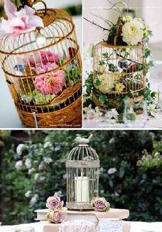 The Practical Wedding Blog: Beautiful bird cage centerpieces