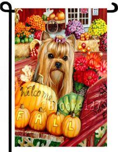 YORKIE FALL AUTUMN Painting GARDEN FLAG Dog Art Yorkshire Terrier HALLOWEEN