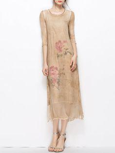 Half Sleeve Vintage Two Piece Floral-print Midi Dress