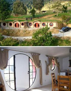 The Hobbit Motel, inspired by J. Tolkien's The Hobbit From: 10 Beautiful Buildings Inspired by Famous Books Earthship, Hobbit Hotel, Casa Dos Hobbits, Earth Sheltered Homes, Tadelakt, Underground Homes, Apartment Therapy, Famous Books, Earth Homes