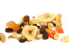 "Most nutritionists will advise you to snack on a combination of carbs, protein, and fiber for sustained energy—and trail mix seems like a perfect example. But grocery store versions are often packed with not-so-nutritious add-ons, like ""yogurt""-covered raisins, deep-fried banana chips, sesame sticks, or salty nuts, according to DrOz.com. Make a healthy mix yourself with mainly nuts and seeds and a little high-cacao dark chocolate and dried fruit."
