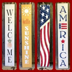May 26th @ 6:30pm REVERSIBLE PORCH SIGNS Pallet Crafts, Wooden Crafts, Diy Wood Projects, Diy Projects To Try, Diy Crafts, Rustic Signs, Wooden Signs, Backyard, Patio