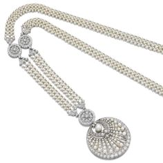 Natural pearl, seed pearl and diamond pendant/sautoir, Tiffany & Co.  Composed of a woven band of seed pearls, accented with rosette motifs millegrain-set with circular cut diamonds, suspending a detachable pendant set with graduated seed pearls and a swing set button shaped natural pearl measuring 7.80 x 7.83 x 6.23mm, and similarly cut diamonds, inner circumference approximately 730mm, pendant and sautoir each signed Tiffany & Co.