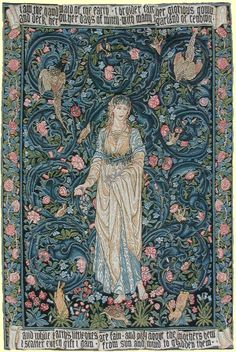Flora Designed by Edward Burne-Jones in 1885 with Background by Morris Woven in Belgium