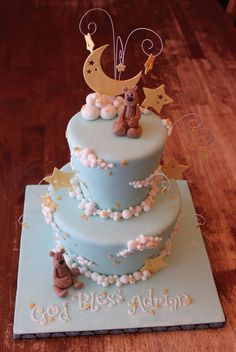 Moon, Stars, and Clouds cake with gum paste Teddies by Andreas SweetCakes Fondant Toppers, Fondant Cake Designs, Fondant Cakes, Cupcake Cakes, Cupcakes, Baby Cakes, Baby Shower Cakes, Sweet Cakes, Pretty Cakes