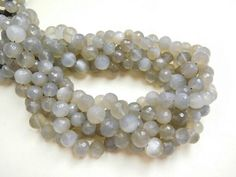 """NATURAL GRAY MOONSTONE 7 8 mm micro faceted round ball beads 13"""" strand uc42"""