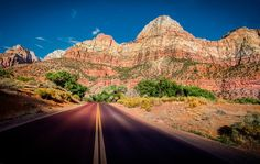 I love the roads in Zion! I know this is a strange thing to say about them, but whenever I see this exact color and texture of roads, they feel so soft and rubbery. Even the way they grip the car feels different. And, naturally, they look so good hyper-colored in the photos! - ZION, UTAH - photo from #treyratcliff Trey Ratcliff at http://www.StuckInCustoms.com