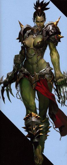 47 Ideas Drawing Of Girls Fantasy Rpg Female Orc, Fantasy Female Warrior, Fantasy Armor, Fantasy Women, Dark Fantasy Art, Fantasy Girl, Warrior Angel, Warcraft Art, World Of Warcraft