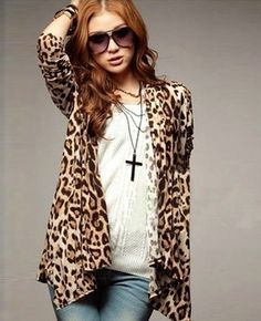 f1abd9868e Online Shop 2015 New Fashion Lady Leopard Cardigan Women Casual Leopard  Blouse Shirt Open Front Outwear Long Slim Tops Big Size SV001699