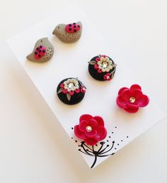 Pink Post Earrings Set, Little Birdie Earrings, Pink Flower Earrings, Pink and Black Earrings, Polymer Clay Earrings, Gift Set, Spring. $15.00, via Etsy.