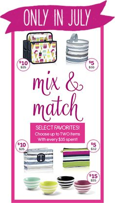 Thirty-One Gifts – Mix & Match! #ThirtyOneGifts #ThirtyOne #Monogramming #Organization #July2017Special #MixAndMatch #OhSnapBin #MiniZipperPouch #DoubleDutyCaddy #SwapItPocket #GetTheScoopBowls