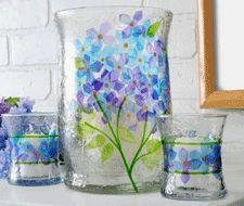 """Stencil what you want on a set of glasses!              See More Projects by Holli Long                    A pretty """"stained glass"""" project made with Gallery Glass"""