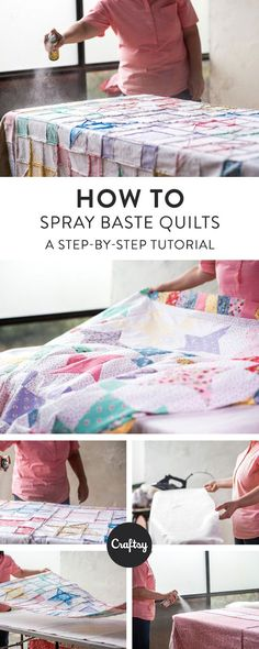 Spray basting is a quick & effective way to baste your backing, batting and quilt top. Learn how with our this easy photo tutorial.
