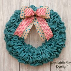 Turquoise Burlap Wreath, Spring Wreath, Easter Wreath, Summer Wreath, Wreath with Bow, Pink Chevron Bow, Turquoise Polkadot Bow